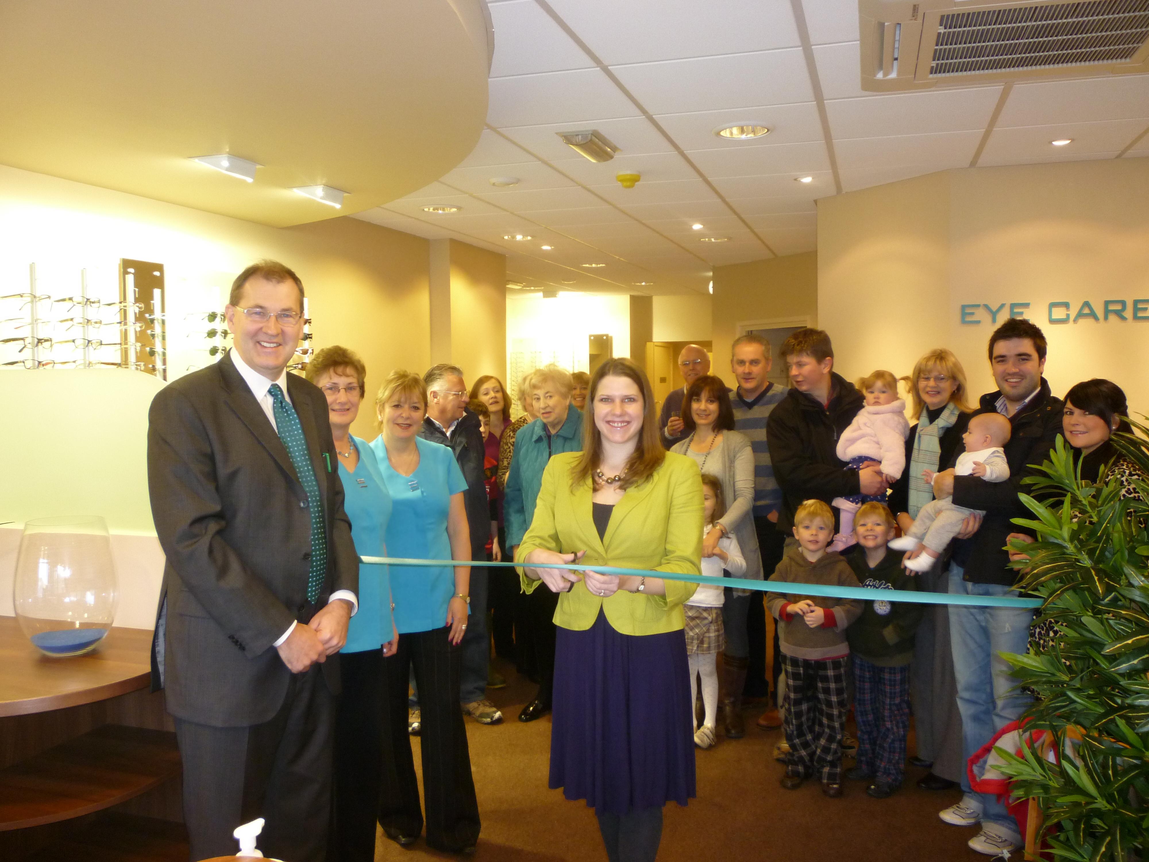 Jo Swinson opens Peter Ivins Eye Care Bearsden Optician